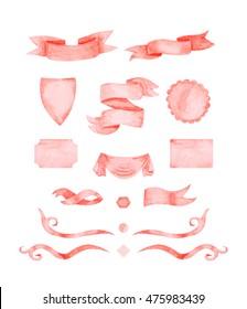 Watercolor Design Clipart - Ribbon banners