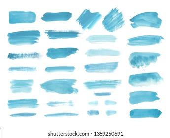 Watercolor design elements in blue. Brush strokes, splashes, splatters, blobs. Hand drawn, painted texture background.