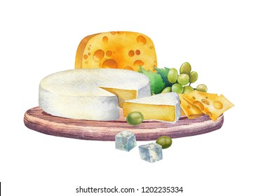 Watercolor design witn different types of cheese and grapes on the wooden plate. Hand painted illustration isolated on white background