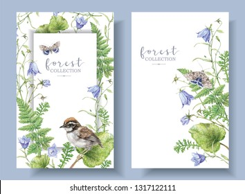 Watercolor detailed banners with forest plants, bell flowers, bird and butterfly isolated on white background. Botanical frame and border can be used for scrap booking, boho wedding, greeting design