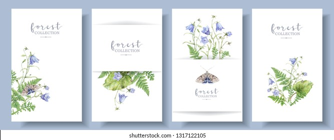 Watercolor detailed banners set with forest plants, bell flowers and butterflies isolated on white background. Botanical arrangement best as boho style wedding invitation cards