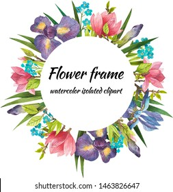 Watercolor digital clipart, wreaths of different flowers, a wreath for invitations, cards, wedding flowers, a wreath of forget-me-not irises and magnolias