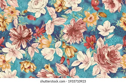 Watercolor digital flower with leaf garden colorful pattern on texture fabric floral background pattern