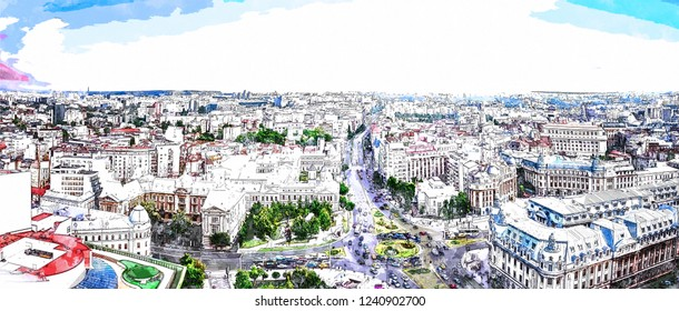 Watercolor digital painting of the capital city of Romania, Bucharest. Blue sky above the center of the city.