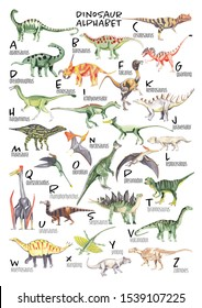 Watercolor dinosaur alphabet Each dinosaur is for each lettern for English Alphabet ABC kids poster Nursery wall art Watercolor painting Children play room decor A3 size 300 dpi rgb color mode