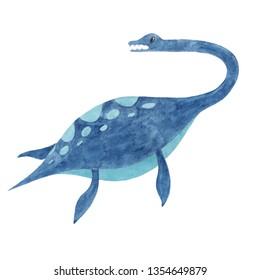 Watercolor dinosaur. Illustration Elasmosaurus for kids
