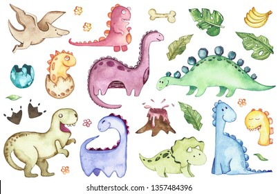 Watercolor Dinosaurs isolated on white background