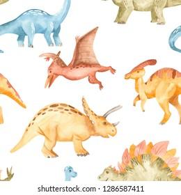 Watercolor dinosaurs prehistoric period. Seamless pattern. Illustration for kindergarten, wallpaper, cards, invitations, childish design.