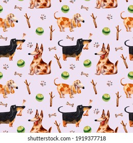 Watercolor dog pattern. Pet illustration. Animal portrait seamless texture. Pet toy pattern. Cute animals background. Wrapping paper print. Trendy animal textile print. Smily dog texture. Kids design.