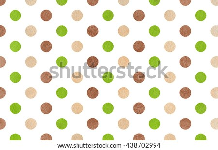 Watercolor Dots In Brown, Green And Beige Color. Watercolor Brown, Green  And Beige