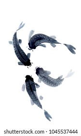 watercolor draw of fishes in japanese style