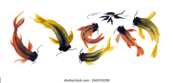 watercolor draw of japanese fishes swimming to the fallen leaf