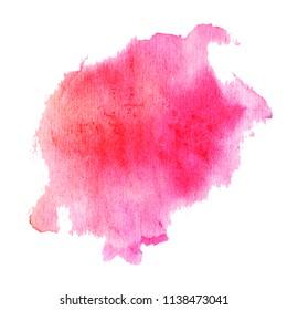 Watercolor drawing. Abstraktion. Pink spot.