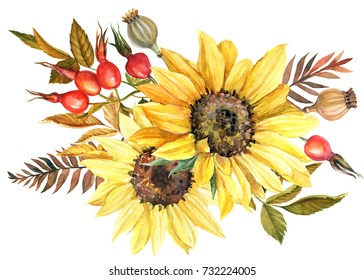Watercolor drawing, autumn bouquet with a sunflowers, poppy seeds, dogrose berries, and dry leaves. Hand painted illustration