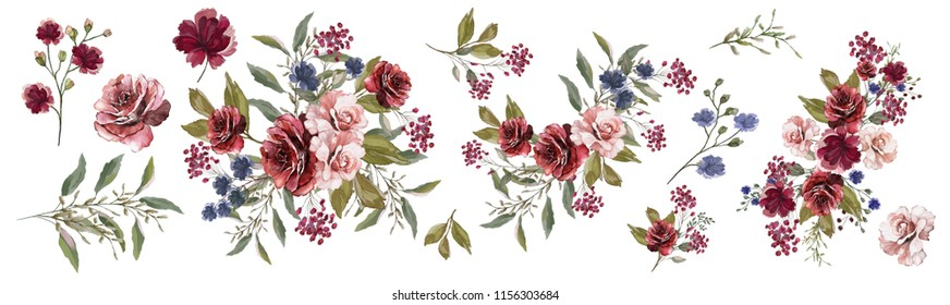 Watercolor drawing. Botanical illustration.A set of floral arrangements of Burgundy, pink roses, flowers and colorful leaves, bouquets, decorative herbs .