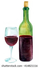 A watercolor drawing of a bottle and a glass of red wine, hand painted in a realistic manner on white background