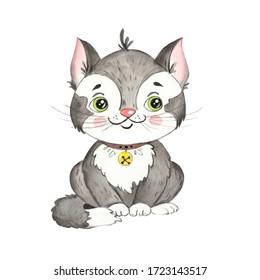 Watercolor drawing of a cartoon cat, pet