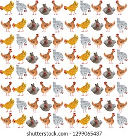Watercolor drawing with chickens. Chicken farm watercolor illustration. Animal seamless pattern with chicken and rooster. Hand-drawn watercolor illustration, ideal for printing on fabric, packaging.