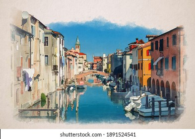 Watercolor drawing of Chioggia cityscape with narrow water canal Vena with moored multicolored boats between old colorful buildings and bridge, blue sky in summer day, Veneto Region, Northern Italy