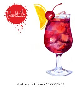 Watercolor drawing of a cocktail. Slice of lemon, cherry, ice cubes. Isolated objects on a white background.