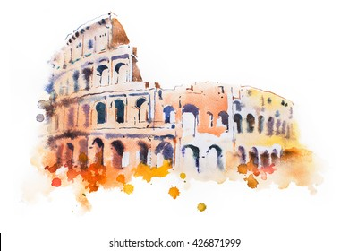 watercolor drawing of Coliseum in Rome. Hand drawn Italian sightseeing