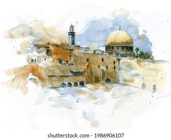 Watercolor drawing colorful sketch Jerusalem