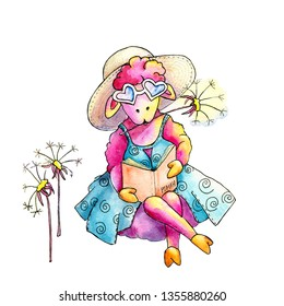 Watercolor drawing depicting a sheep on the beach for the design of prints, cards, avatar, posters, backgrounds, banners