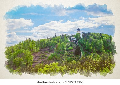 Watercolor drawing of Diana Observation Tower (Rozhledna Diana) and funicular on hill above Slavkov Forest with green trees and Karlovy Vary (Carlsbad) town, blue sky white clouds, Czech Republic