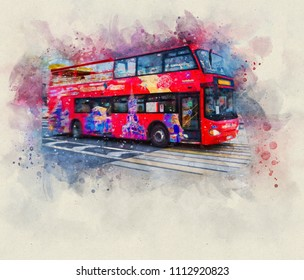 Watercolor drawing. Double-decker tourist bus passes towards the Red Square. Sightseeing. Motion blur. Book or city guide cover. Calendar or postcard. Mock up template. Copy space. Room for title text