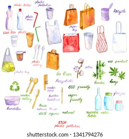 watercolor drawing eco set, stop plastic pollution objects, hand drawn illustration
