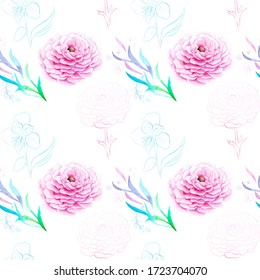 watercolor drawing of exotic flowers with contour - seamless pattern ranunculus
