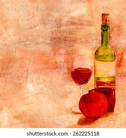 A watercolor drawing of a glass and a bottle of red wine with a pomegranate on an artistic golden background with a place for text