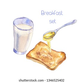 Watercolor drawing of a glass of milk,  a toast bread and a spoon with honey.  Sweet breakfast with milk, toast and honey. Isolated on white background - Illustration