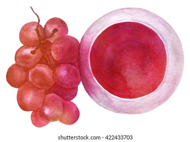 A watercolor drawing of a glass of red wine with a branch of grapes, an overhead view, hand painted in watercolor on white background, enhanced with a vibrant texture
