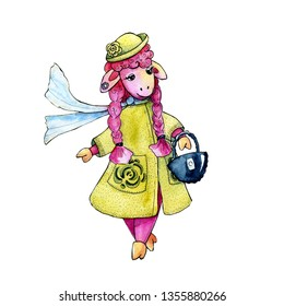 Watercolor drawing with the image of a fashionable sheep for the design of prints, cards, avatar, posters, backgrounds, banners