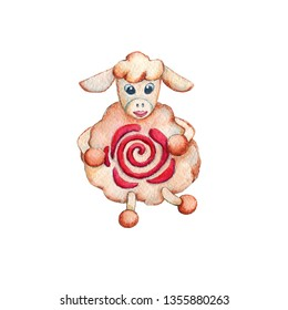 Watercolor drawing with the image of sheep for the design of icons, prints, cards, avatar, posters, backgrounds, banners