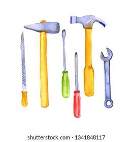 watercolor drawing instruments, tool kit, hand drawn illustration