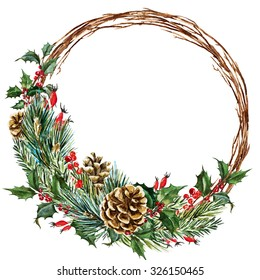watercolor drawing isolated Christmas wreath with fir, pine cones, frame plant