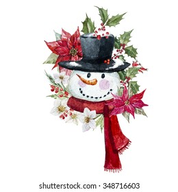watercolor drawing isolated snowman with poinsettia flowers and hellebore, red berries, Christmas Card