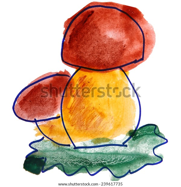 Watercolor Drawing Kids Cartoon Mushrooms On Stock