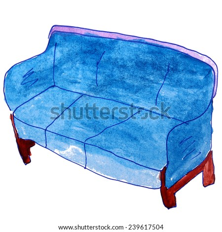Watercolor Drawing Kids Cartoon Sofa On Stock Illustration Royalty