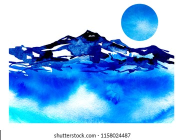 Watercolor drawing with a mountain landscape. The peak of the mountain, the rock, the canyon. A blue sky,lake, river, water a splash of paint.Lunar eclipse, the moon is not sky.Postcard, picture, logo