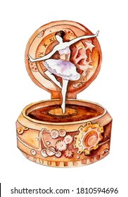 Watercolor drawing of a music box with a dancing ballerina in the steampunk style on a white background. Theater and ballet. Mechanical dancer. International Music Day.