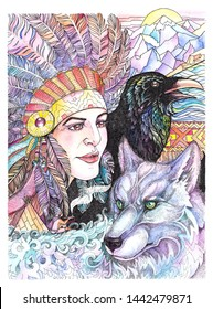 Watercolor drawing Native American, warrior with wolf and raven