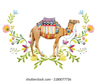 Watercolor drawing on white background, camel with saddle and ornament, decorative floral ornament