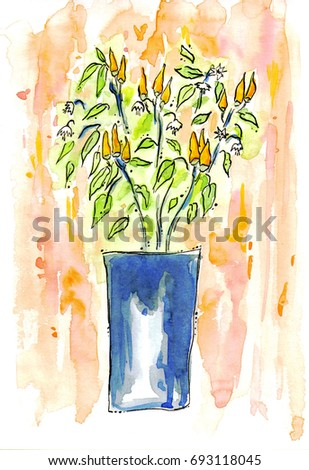 Watercolor Drawing Orange Chili Pepper Blue Stock Illustration