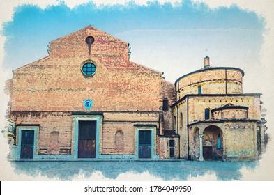 Watercolor drawing of Padua Cathedral, Duomo di Padova, Basilica Cattedrale di Santa Maria Assunta and Battistero di San Giovanni Battista in historical centre, evening view, Veneto Region, Italy