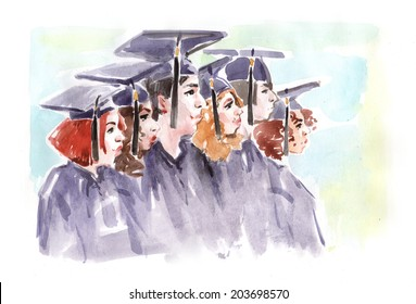 Watercolor drawing paining portrait male female graduates in uniform. High resolution watercolors draw collection.