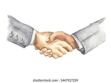 Watercolor drawing painting of businessman handshake. Two men shaking hands isolated on a white background. Business partnership meeting concept.