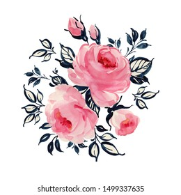 Watercolor drawing paints on paper roses with leaves and bud. Stylish illustration for your design and decoration.
